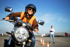 Woman taking a motorcycle safety course
